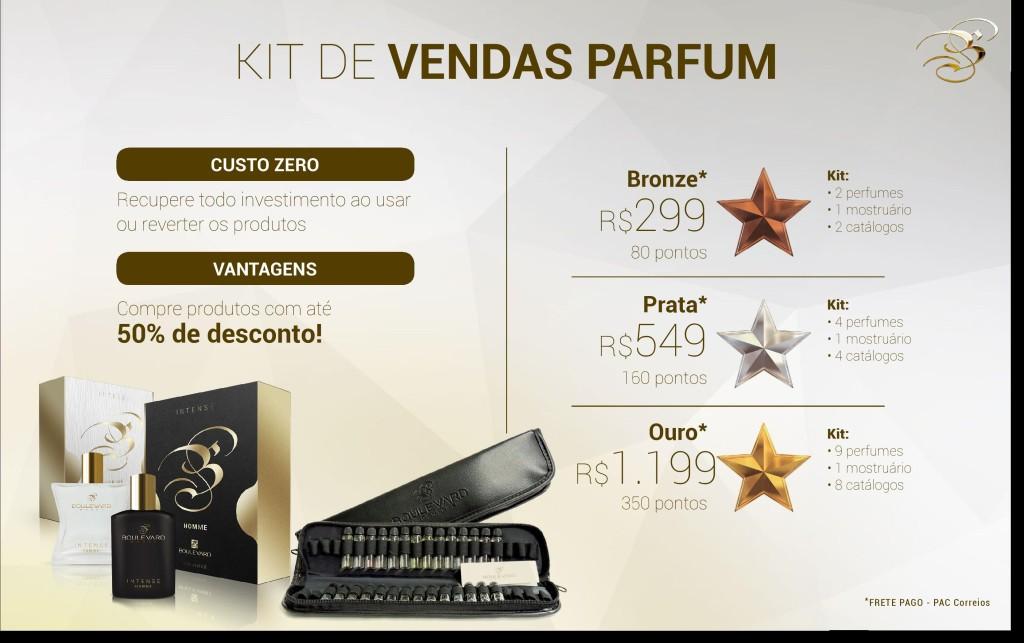Kit de Vendas Parfum -Boulevard Monde- Amamos Cosméticos